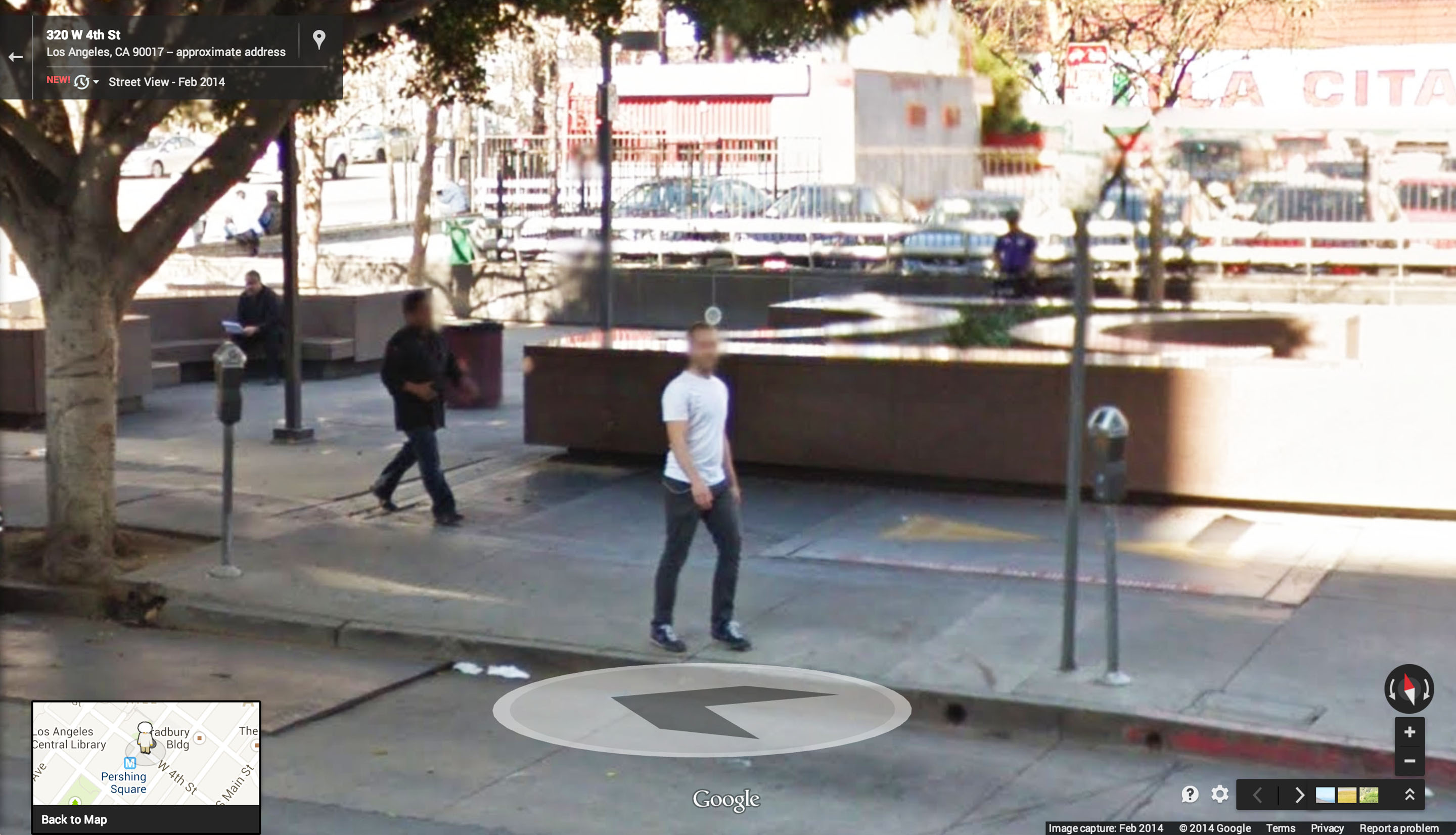 An image of Ian Besler taken from a Google Street View capture of Downtown Los Angeles in 2014.